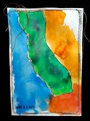 California (opal c) Tags: california thread watercolor map photostream indexcardart contourmap