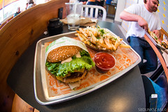 SUPER DUPER BURGER (sbdunkscarl) Tags: sf street camera bridge blue cambridge sky people max mountains building green rooftop water yellow clouds walking photography hotel bay nikon san francisco very market kodak mark burger air 14 angles going wideangle nike fisheye dont area there rest 28 mm 105 18 50 d800 superduper architectures 1424 luner waze