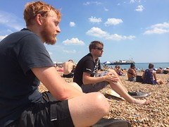 On the beach with @TheAvangelist and @Gablaxian.