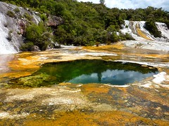 Geothermal Pool (Rebekah H. Photographie) Tags: trees newzealand summer vacation sky orange cloud hot tree green nature water rock stone clouds outside bush flora rocks hiking stones hill hike steam hills heat algae taupo bushes geothermal hikes steaming orakeikorako