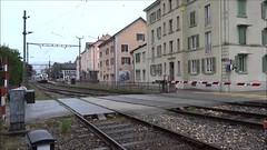 TRN/RVT Trainset type RABe527 331 leaving the station of Fleurier. (Franky De Witte - Ferroequinologist) Tags: de eisenbahn railway estrada chemin fer spoorwegen ferrocarril ferro ferrovia