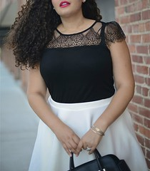 Feminine Edge (GirlWithCurves) Tags: lace curvy curlyhair plussizefashion inbetweenie girlwithcurves taneshaawasthi curvyfashion