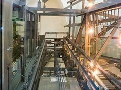 Guggenheim 1 (genf) Tags: glass colors metal museum 35mm lights spain iron lift sony elevator bilbao espana guggenheim glas shaft mechanics spanje metaal a77 schacht kleuren mechanica lichten liftschacht