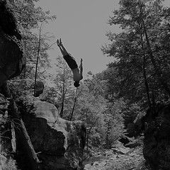 (tsering.phurpu) Tags: blackandwhite photography moments reality leapoffaith wordless surreality intothewild cliffjump lifeinnewyork cattskill