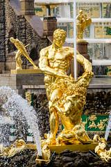 Golden Boy (JeremyHall) Tags: travel cruise history water fountain stpetersburg gold golden russia palace saintpetersburg petergof