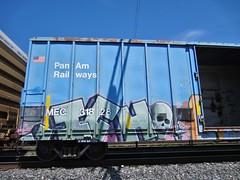 ICH (YardJock) Tags: railroad skull graffiti character railway yme spraypaint boxcar panam ichabod freighttrain rollingstock slf benching paintedsteel benchreport