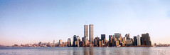 world trade towers (Alida's Photos) Tags: nyc panorama film manhattan 911 scanned oldphoto twintowers wtc september11 lowermanhattan nyharbor worldtradetowers