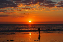September Sunset (John Ibbotson (catching up!)) Tags: ocean sunset sea sky sun beach silhouette wales clouds coast ceredigion borth