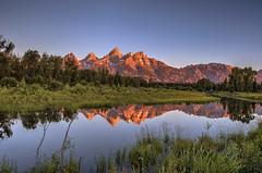 Sunrise at Grand Teton (Fil.ippo) Tags: travel usa mountain reflection sunrise nationalpark alba wyoming grandteton hdr filippo d7000 filippobianchi