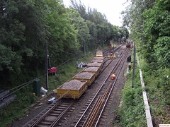 A Stobart Rail Road Railer Ballast Train at Longhurst Road Siding (South Gosforth) (CoachAlex1996) Tags: light england train newcastle metro north transport rail railway tyne system wear east story transportation network passenger tyneandwearmetro metrocar stobart