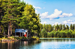The little house (Appe Plan) Tags: wood trees light summer sky sun house lake building cute beach water architecture clouds forest woodland island boat nikon ride bright little sweden branches small cottage mini shore dalarna malung appe d700 je