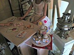 Where shall we put them?? (Livdollcity) Tags: ellowyne tonner diorama doll dolls tea room samovar props prop poster cake chandelier display