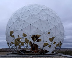 the cold war (subarcticmike) Tags: subarcticmike golfball industrialwaste radar dome geotagged churchill manitoba canada boreal forest hudson bay preseason golfballs soccerball geodesic 2014 discombobulation