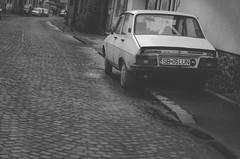 Dacia 1310 (drogersworrall) Tags: street blackandwhite bw kitlens cobbled romania cobbles rom 1310 sibiu dacia nikon1855