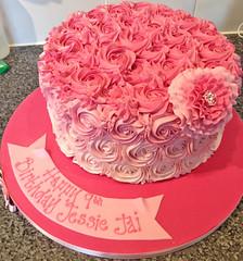 Pink Piped Rose Cake