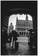 La lluvia (Mancha Extraa) Tags: plaza black rain lluvia downtown grandplace tourist gran whit bruselas ayuntamiento turistas turista brusels