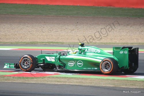 Marcus Ericsson in his Caterham during Free Practice 1 at the 2014 British Grand Prix