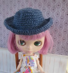 Melissa in her new crocheted blythe hat