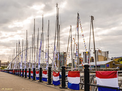 Mast Gathering (whistlingtent) Tags: bridge cloud mill dutch river newcastle point curves angles millenium scene baltic racing tyne yachts straight flour vanishing footpath masts railings tricolour linear quayside moored