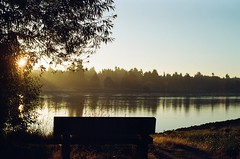 Iona Beach Regional Park - Richmond, BC. Shot on Kodak 200 with Pentax ME (clareheather) Tags: park sun film silhouette vancouver sunrise river bc pentax britishcolumbia richmond reflect yvr fraserriver vancity kodak200 pentaxme