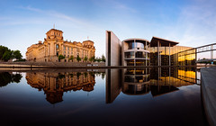 about mirrors (in the morning, berlin) (Tafelzwerk) Tags: panorama reflection berlin sunrise river mirror spiegel reichstag fluss spree reflexion sonnenaufgang spiegelung regierungsviertel governmentquarter governmentdistrict