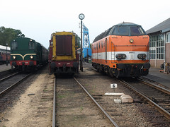 Lineup at Beekbergen, August 2, 2014 (cklx) Tags: amsterdam 600 500 excursion apeldoorn beekbergen vsm 9802 9908 locon traintour bakkies railexperts