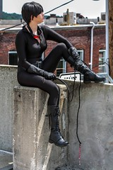 Rough Day (ninjacatmomo) Tags: urban woman black cat kyle comics book dc comic cosplay goggles suit comicbook whip cosplayer catwoman catsuit selina pandlers