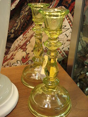 "VASELINE GLASS CANDLESTICKS. PAIR. • <a style=""font-size:0.8em;"" href=""http://www.flickr.com/photos/51721355@N02/14714615278/"" target=""_blank"">View on Flickr</a>"