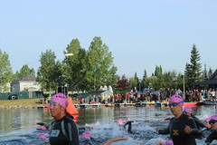 2014JulyChapTri 036 (Dawn - Pink Chick) Tags: calgary swimming swim cycling running run runners olympic sprint triathlon chaparral 2014 lakechaparral pinkchick triit aug102014 lakechaparraltriathlon