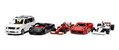 Car Collection | 9/12/14 (Nathanael L.) Tags: red white black cars car lego creation l nathanael moc lbjr mclarenmp46 mazdampvlx ferrari458italia legobuilderjr ferrarif14t nolavivace