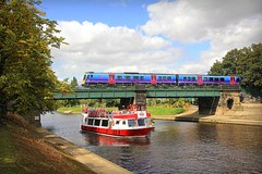 York Transport: First Trans Pennine Express 185106 - York (96tommy) Tags: york uk bridge cruise england station train river photography boat photo britain yorkshire united great north transport first rail railway kingdom class transportation gb express trans ouse pennine 185 yorkboat 185106