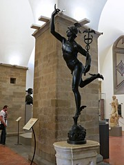The bronze flying Mercury by Giambologna. (Linda DV (back again)) Tags: travel italy art museum architecture canon geotagged florence europe worldheritagesite tuscany historical firenze bargello toscana renaissance 2014 historicsite citytrip geomapped lindadevolder powershotsx40