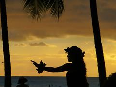 Beautiful hula girl (enjbe) Tags: sunset clouds palms hawaii waikiki hula