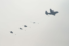 Para's jumping out of a US Air Force C130 Hercules transport plane #Margetgarden2014 #Airborne_2014