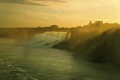 Good Morning American Falls (Sneezzzzz) Tags: morning travel mist canada water sunrise river landscape niagarafalls waterfall americanfalls 5photosaday sonynex