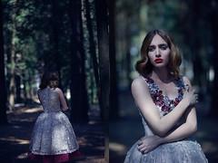 Into the woods (Edvina Meta) Tags: wood flower face fashion dark woods dress fantasy fashiondesigner fashioneditorial edvinameta enadaatnikolla edvinametaphotography ilonacenolli
