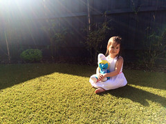 Spring time (Enzo Sgroi) Tags: portrait sun girl grass garden spring lensflare rays smurfette iphone iphoneography