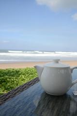 Teapot and Sea Water (Allison Mickel) Tags: ocean bali beach breakfast indonesia nikon honeymoon tea teapot seminyak d7000