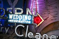 Wedding information sign neon museum Las Vegas (garylestrangephotography) Tags: blue wedding red usa white graveyard sign museum bulb night neon nightshot lasvegas nevada arrow sincity garylestrangephotography