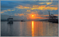 Sunrise Shipping (tdlucas5000) Tags: canada vancouver clouds sunrise harbor ships coal hdr brittishcolumbia