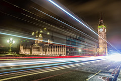Long Exposure in London, March 2017 (Etienne Gaboreau) Tags: london londres long exposure longexposure pose longue tripod 5d markiii mark iii thames tamise bigben big ben nightphotography nighlight night light moon crecent sky uk se1 soutwark tower bridge towerbridge londoneye eye wheel red blue black white la city skyscrapper buildings river flueve rivière crescent millenium pont englanf united kingdom parliament