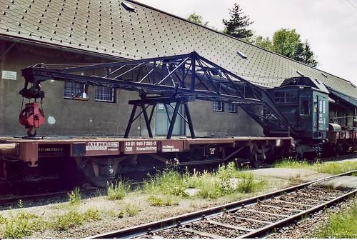 c- Dampfkran 916 811 und Kranschutzwagen 40 81 946 7 202-3 Eisenbahnmuseum Knittelfeld