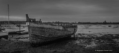 Exclusion zone (frattonparker) Tags: nikond3100 nikkor35mmf18 raw lightroom6 panorama boatwreck private lowwater creek solent englishchannel sussex quay frattonparker btonner monochrome