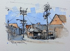 """""""Kensington Market Toronto"""" Line and wash Watercolor. New YouTube Video. Just two colors (Peter Sheeler) Tags: video youtube youtubers landscape art original watercolor winsorandnewton watercolour painting paintingaday penandink architecture ink moleskine canada waterbrush arches lamy uniball higgins fountain soluble street toronto kensington market city"""
