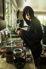 Day 3696 (evaxebra) Tags: washing dishes wizard robe wh wah killstar sorcery hooded dress