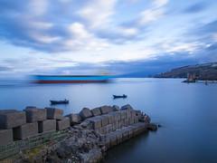 Petrolero (freakyman) Tags: sunset sea españa clouds atardecer mar spain barco canarias olympus nubes tenerife santacruzdetenerife e5 petrolero zd 1454mm bigstopper
