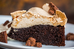 brown sugar chocolate cake, toasted meringue