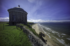 Mussenden Temple (MyWorldMyCamera1) Tags: travel summer vacation terrain irish cliff beach water grass architecture landscape sand rocks europe waves sony clarity wideangle landmark downhill dome destination historical northernireland fullframe atlanticocean f4 18thcentury rugged castlerock mussendentemple countylondonderry mirrorless a7r topazlabs 1018mm photoshopcs6 dxoprooptics9 lightroom55