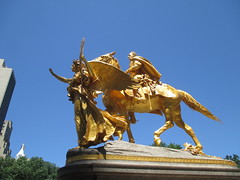 Civil War Statue General Sherman on Horseback with Angel 1345 (Brechtbug) Tags: street plaza new york city nyc roof cactus building green art yellow statue architecture angel bronze gold hotel leaf wings construction hands war pin afternoon shadows general near top flag fingers profile civil american underneath needles avenue 5th cushion sherman 59th the 06152014