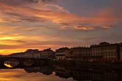 Sunset, Florence (mclcbooks) Tags: bridge sunset italy buildings reflections river landscape florence italia cityscape cloudy firenze arno
